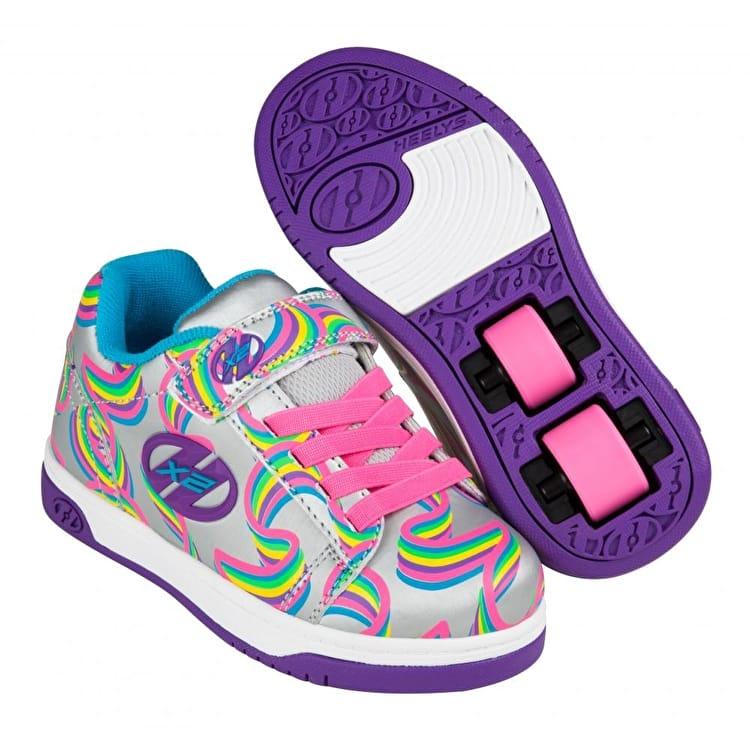 Heelys X2 Dual Up - Silver/Purple/Rainbow
