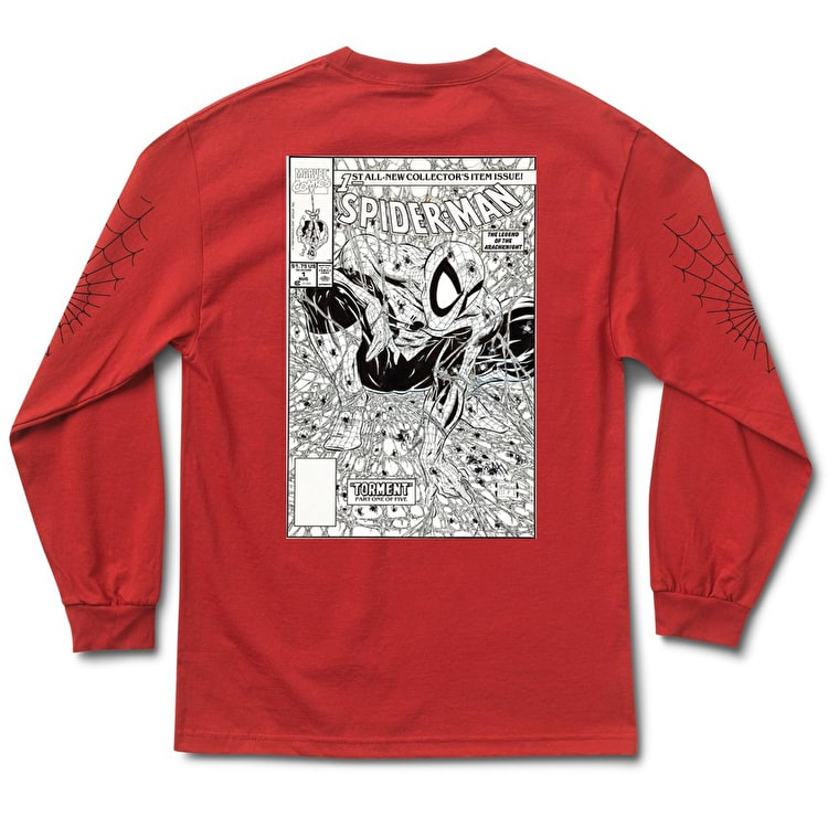 Grizzly x Spiderman Longsleeve T-Shirt - Red Vintage
