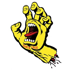 Santa Cruz Screaming Hand Skateboard Sticker - Yellow 6