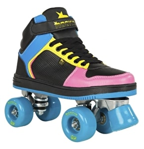 Rookie Quad Skates - Hype Hi-Top Black/Blue/Pink/Yellow