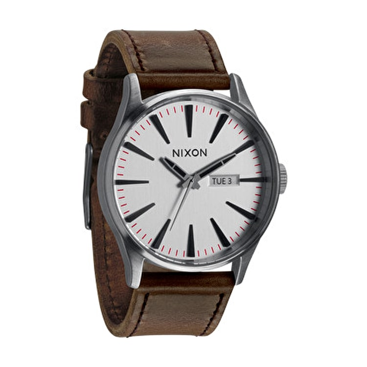 Nixon Sentry Leather Watch - Silver/Brown