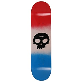 Zero Team Single Skull Skateboard Deck - Red/Bone/Blue 8.0