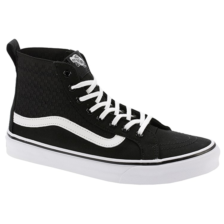 Vans SK8-Hi Slim Gore High Top Skate Shoes - (Checker Gore) Black/True White