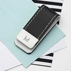 Exclusive Monogrammed Leather Money Clip