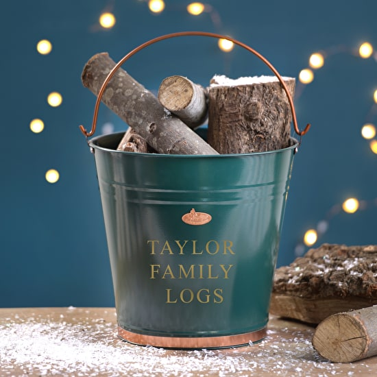 Green And Copper Personalised Christmas Bucket