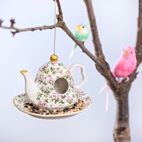 Ceramic Hanging Teapot Bird Feeder