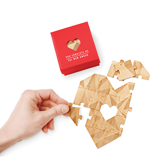 This product is a heart-shaped jigsaw made from beautiful heat stamped wood, packaged loose in a soft touch box.