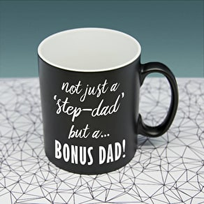 'Bonus Dad' Personalised Black Matte Mug