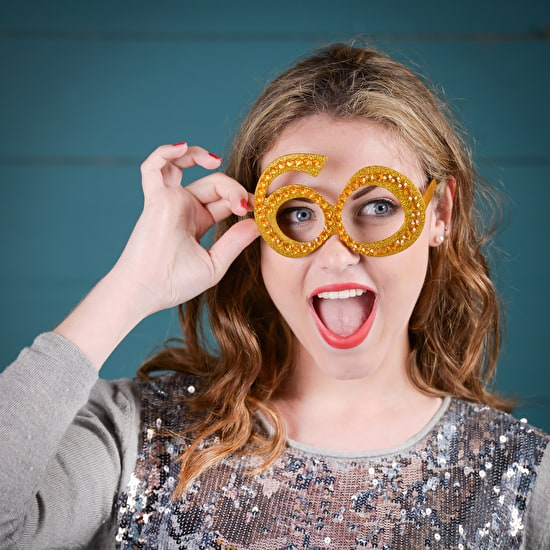 Gold Sparkle Number Glasses And Balloon Party Pack