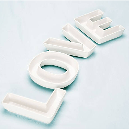 A Set Of 'Love ' Ceramic Letter Dishes