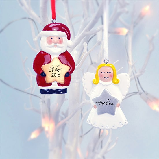 Personalised Father Christmas or Angel Decoration