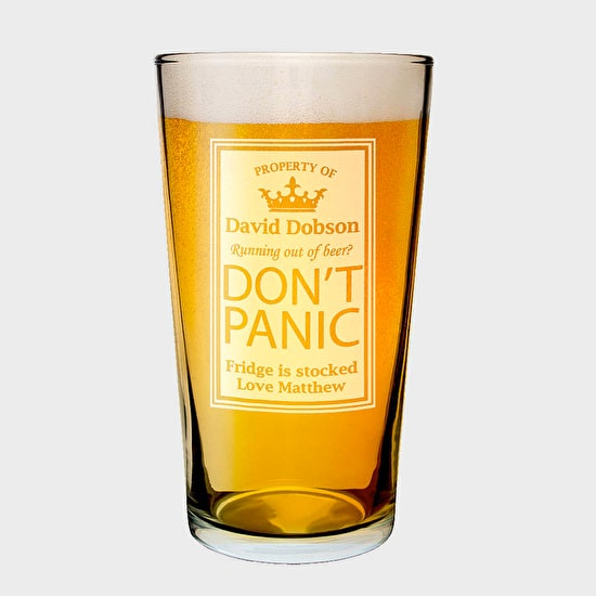 Customised 'Don't Panic' Pilsner Glass