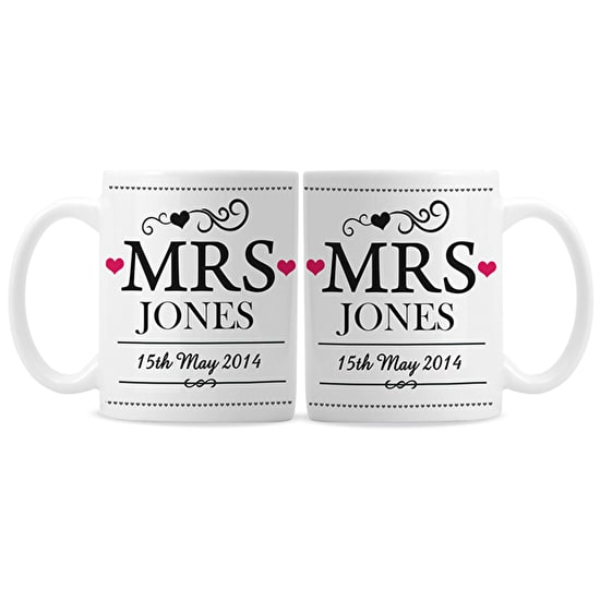Personalised Wedding Mug Set