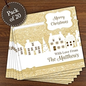 Personalised Festive Pack Of 20 Christmas Cards