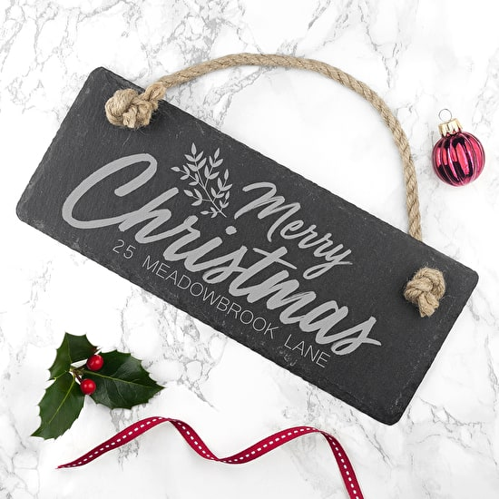 Personalised Merry Christmas Slate Hanging Sign