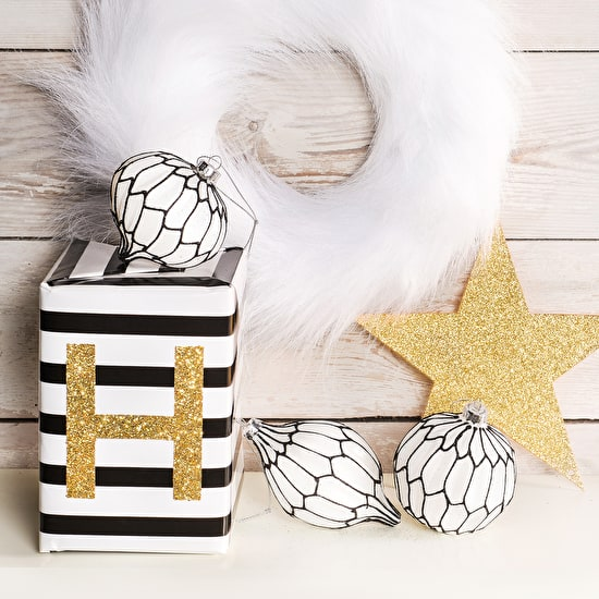 Set of  Black & White Graphic Baubles