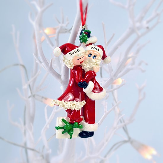 Personalised Kissing Santa Christmas Decoration