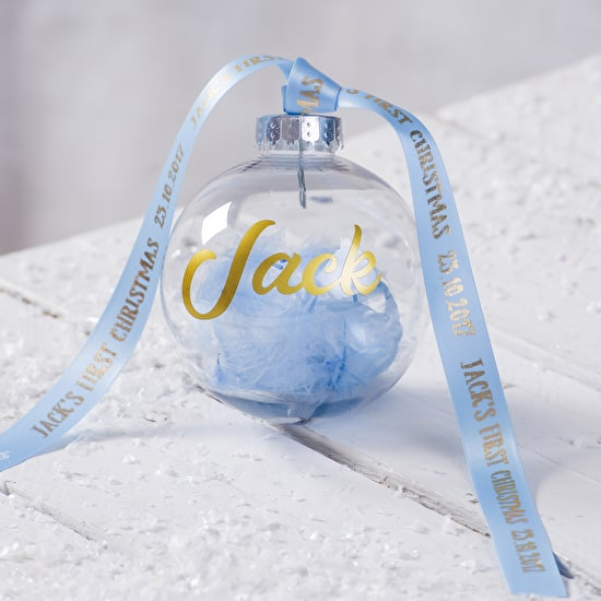 Personalised First Christmas Feather Bauble