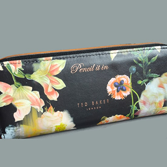 Floral Pencil Case with Pencils