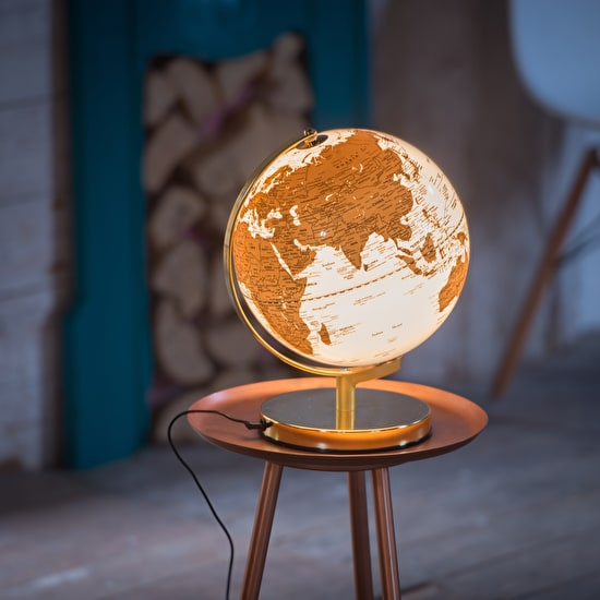 Gold And White Illuminated Globe