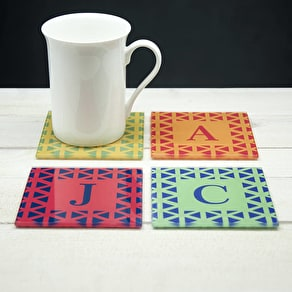 Set Of Four Glass Coasters In A Vibrant Design