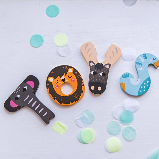 These Bright Fun animal Wooden Painted Letters