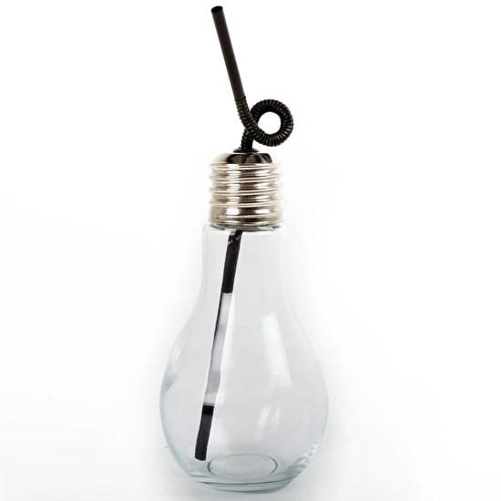 Lightbulb Cocktail Glass With Straw