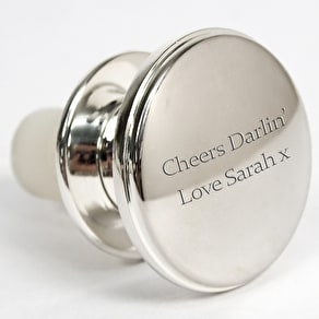 Engraved Silver Plated Bottle Stopper