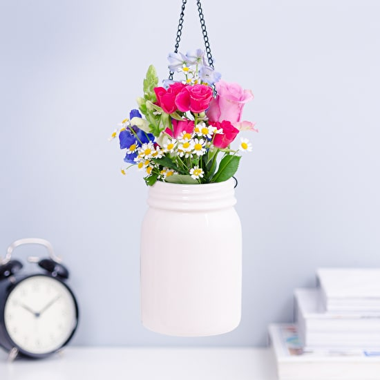 Ceramic Hanging Jam Jar Planter