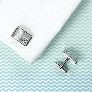 Monogrammed Silver Cufflinks With Crystal