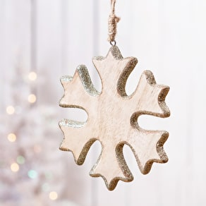 Wooden Glitter Christmas Hanging Decoration