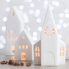 Ceramic White Light Up Church