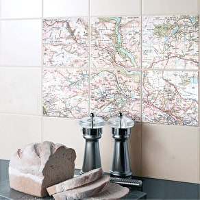 A Set Of Personalised Ceramic Map Tiles