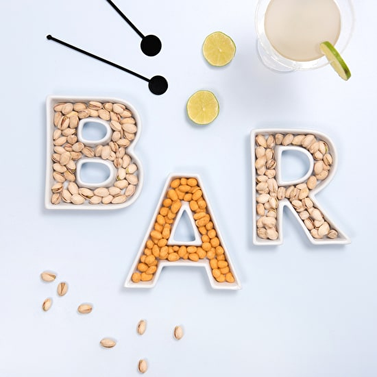 A Set of 'Bar' Ceramic Letter Dishes