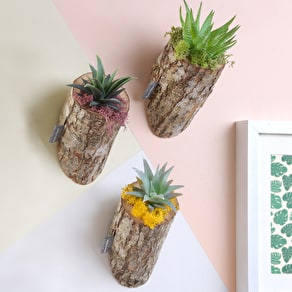 Three Wall Mounted Oak Bark Planters