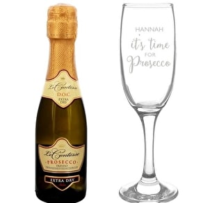Personalised Prosecco Glass & Mini Prosecco