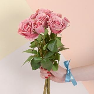 Faux Roses with Personalised Ribbon
