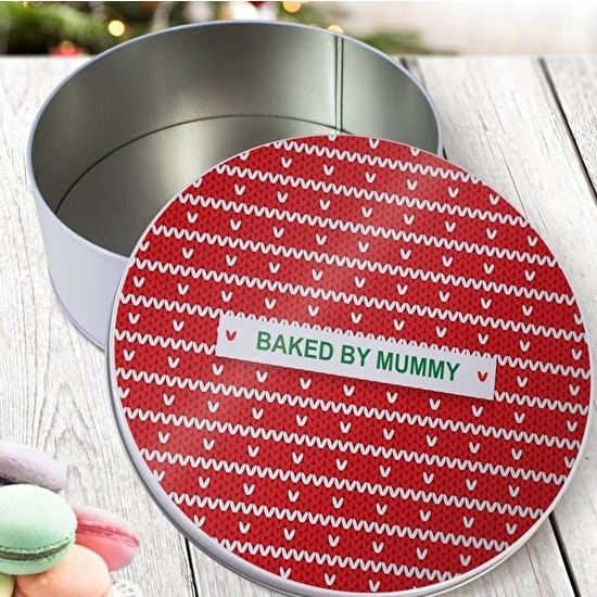 Personalised Red Knitted Jumper Round Cake Tin