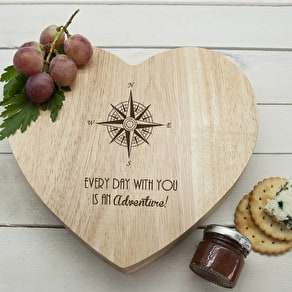 Personalised Compass Heart Cheese Board