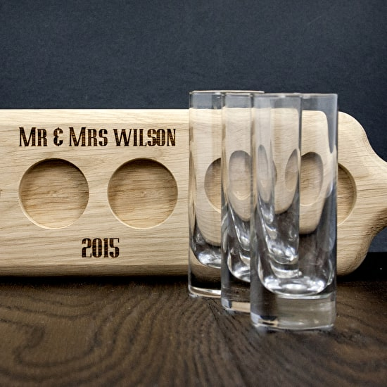 Set Of Six Shot Glasses And Personalised Paddle Board