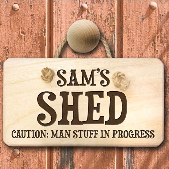Caution: Man Stuff Personalised Wooden Sign