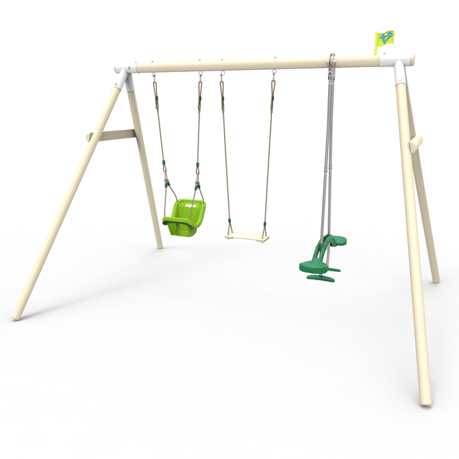 Triple Knightswood swing frame with Skyride, wood swing seat and baby seat